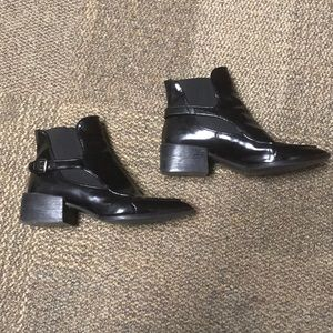 Zara Faux Leather Black Ankle booties